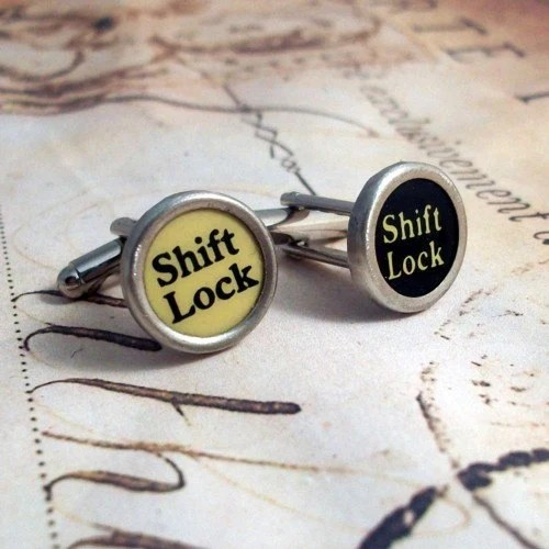 Vintage Typewriter Key Cuff Links Shift Lock