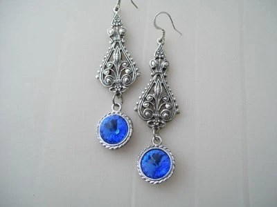 Sapphire Blue and Silver  Sparkly Wedding Dangle Victorian Rivoli Crystal Chandeleir earrings
