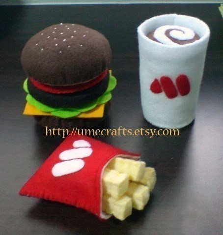 Felt Hamburger Fast Food, Fries and Drink Play Set (Email Patterns and Instructions)