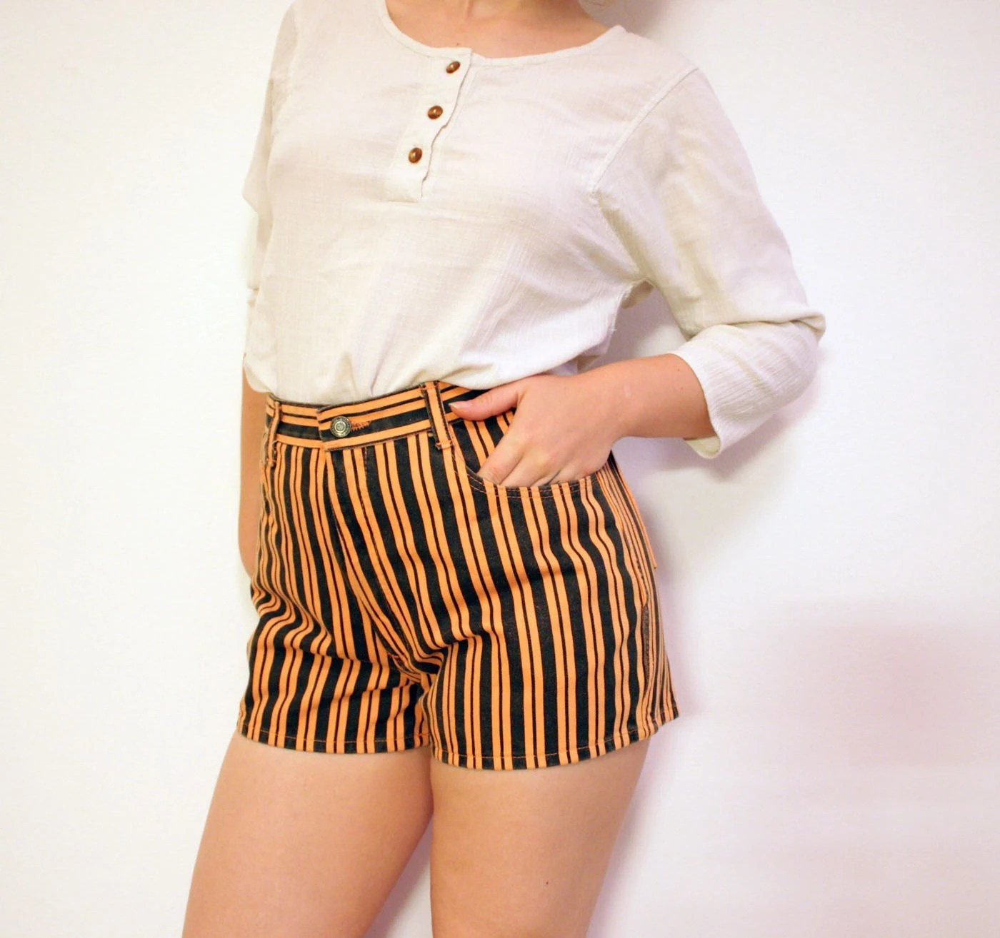 Vintage black and orange striped high waist jean Shorts (m)