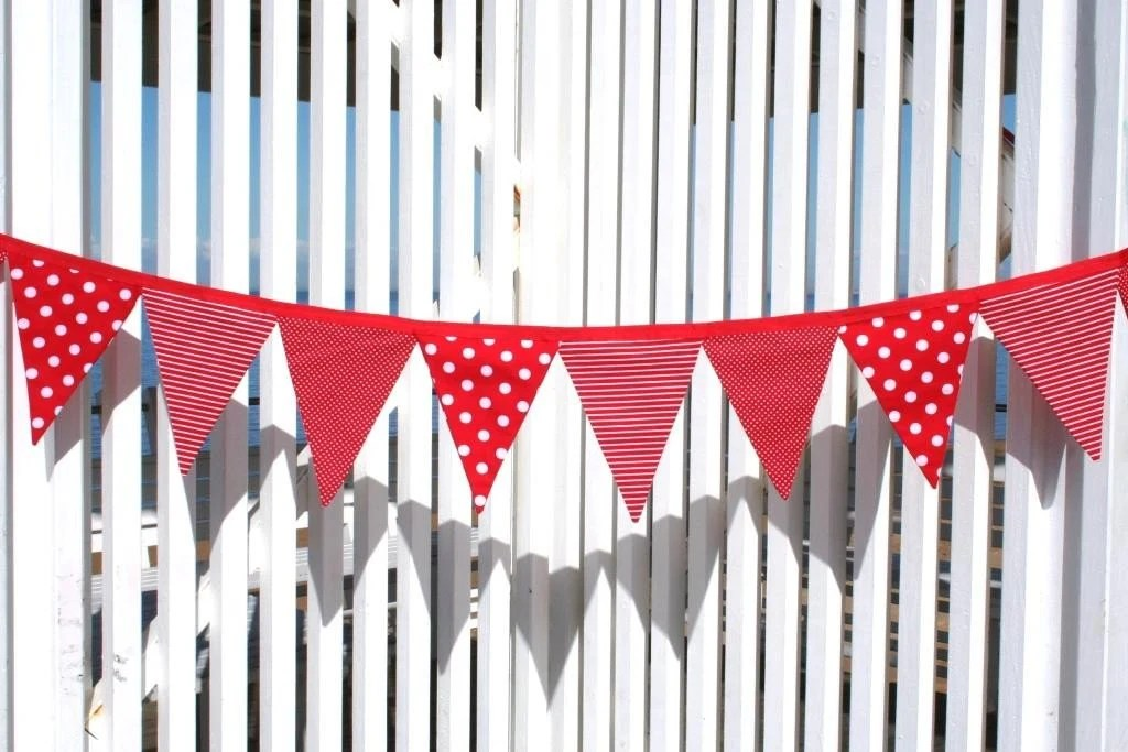 Red Spots, Dots, Stripes and Stars Fabric Bunting