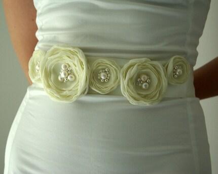 Bridal chiffon flowers sash belt/Romantic Ivory and genuine pearls/Luxury weddings - handmade by K.Person