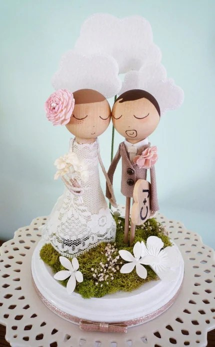 Custom Keepsake Wedding Cake Topper with Clouds in the Background