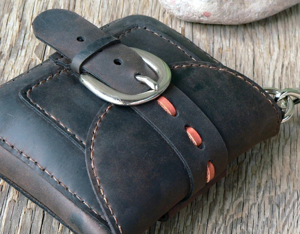 Micro Bag - handmade leather belt bag hip bag hand stitched