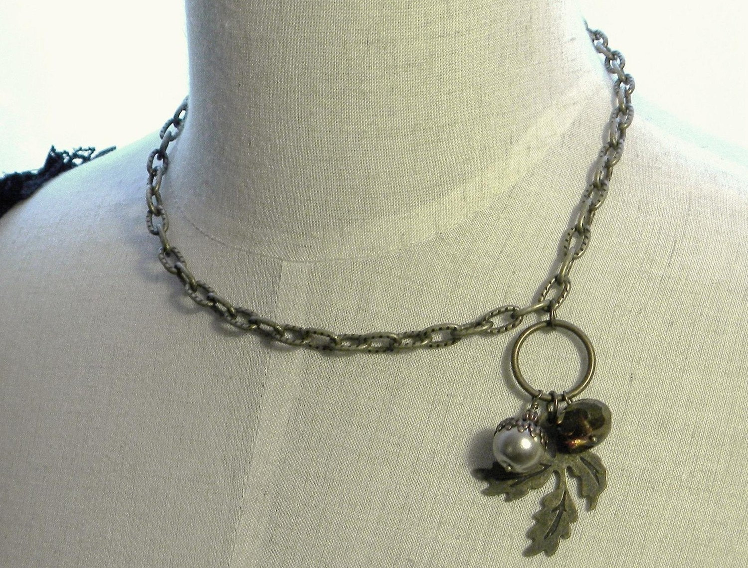 Woodland Necklace Autumn Acorn and Faceted Quartz  FREE SHIPPING Gift Wrapped