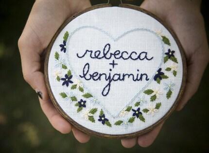 wedding bouquet, embroidered ringbearer hoop