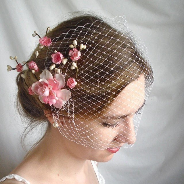 birdcage veil - Cupids Kiss - a bridal bandeau
