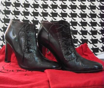 Black Christian Louboutin Asymmetrical Vintage Ankle Boots