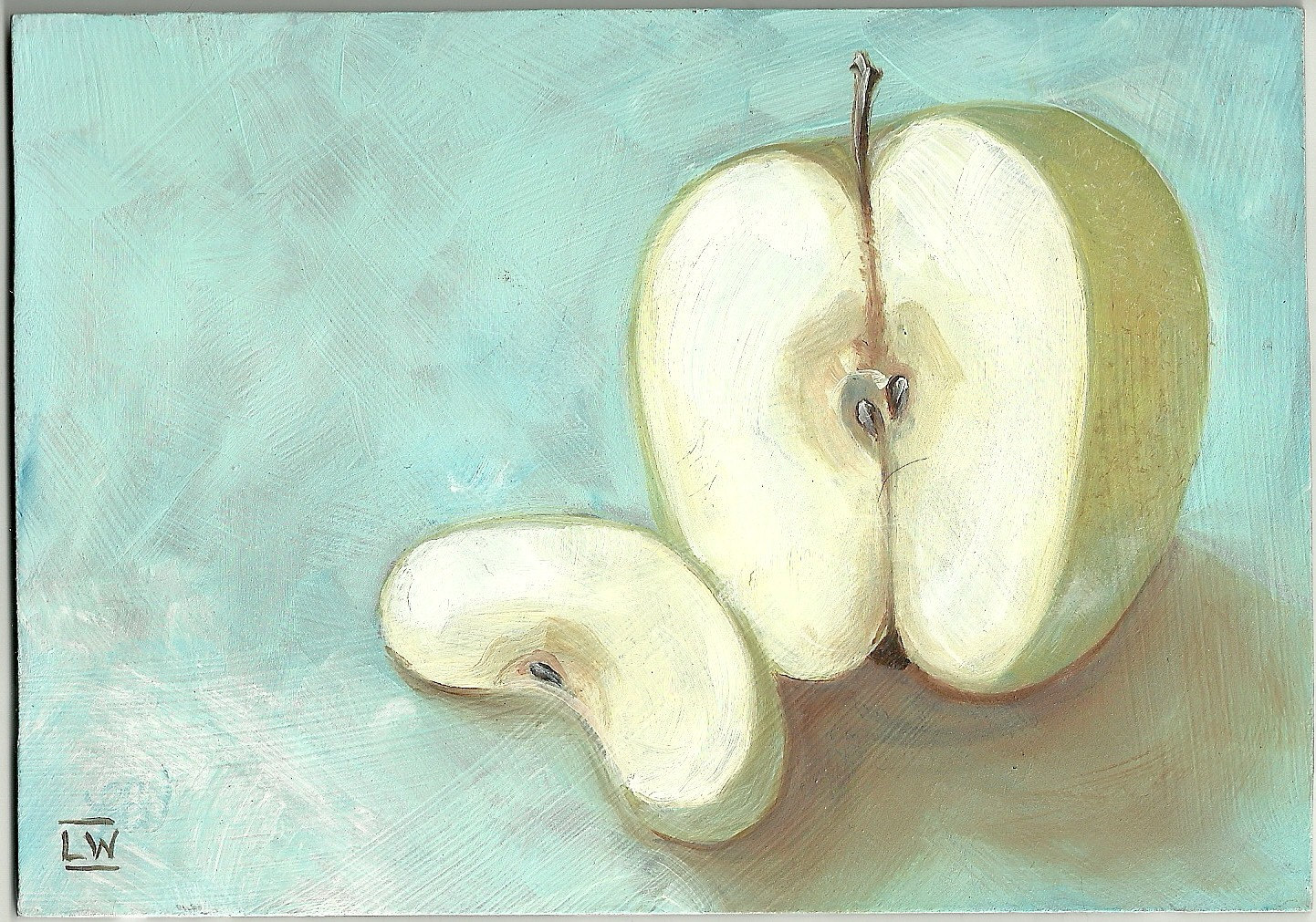 SLICED GREEN APPLE Small Practice Painting by Lindy 5x7