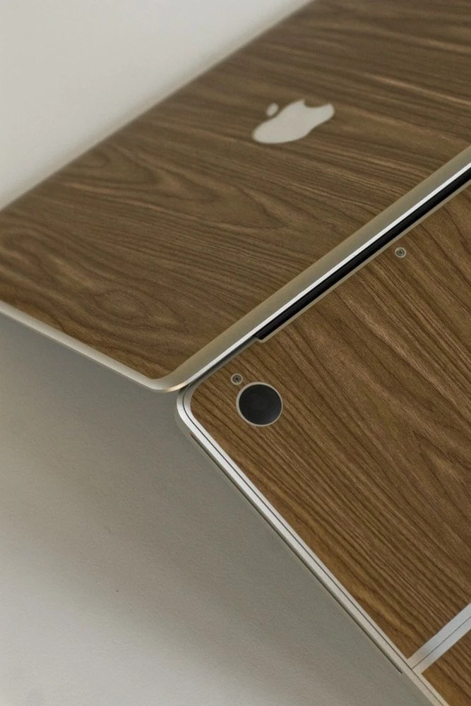 woodgrain macbook cover by brandbrand's