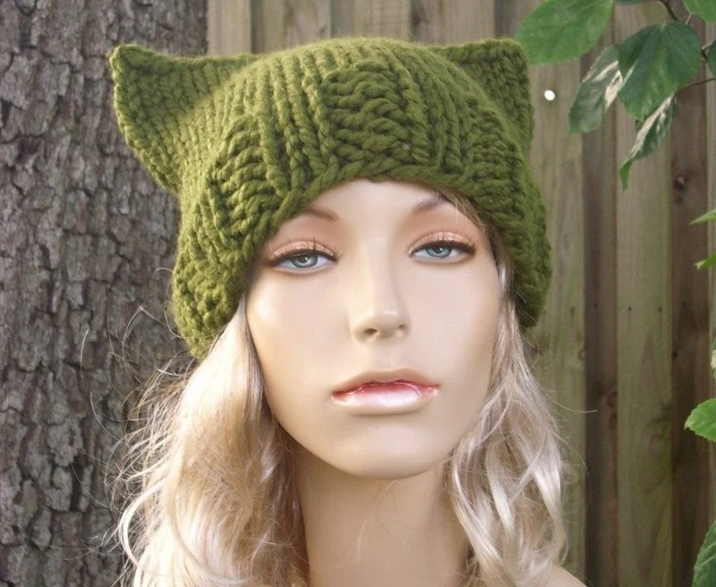 Handmade Knit Hat - Cat Beanie Hat in Olive Green
