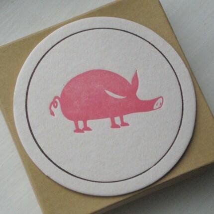 Pink Pig Coasters by thepaperpeony