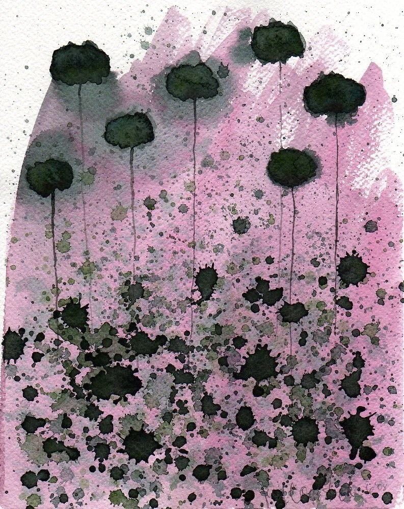 Gray Poppies on Pink -- Original Watercolor 8x10