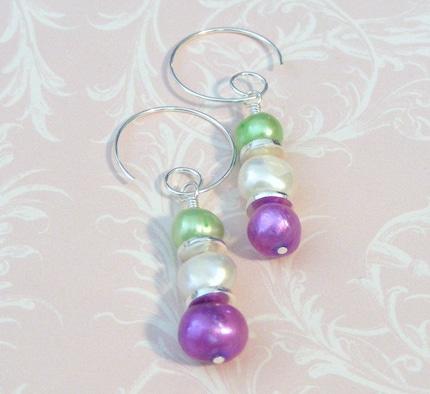 Triple Scoop Pearl earrings