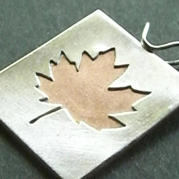 Silver and Copper Maple Leaf Pendant