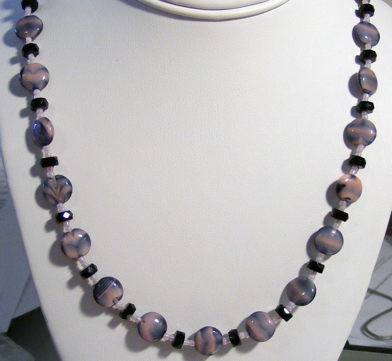 Pink and Black necklace--SALE