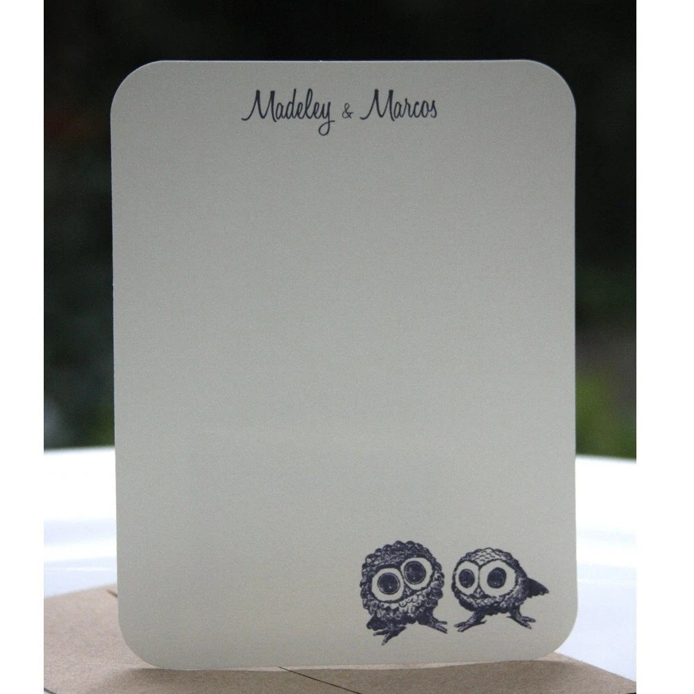 Personalized Folded Note Card- Owl family (set of 12)