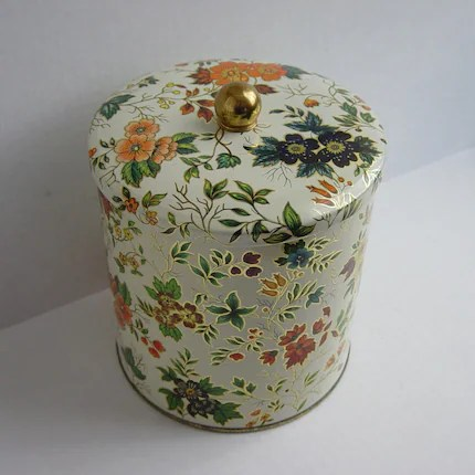 Vintage White Floral Daher Tin Container Made in England
