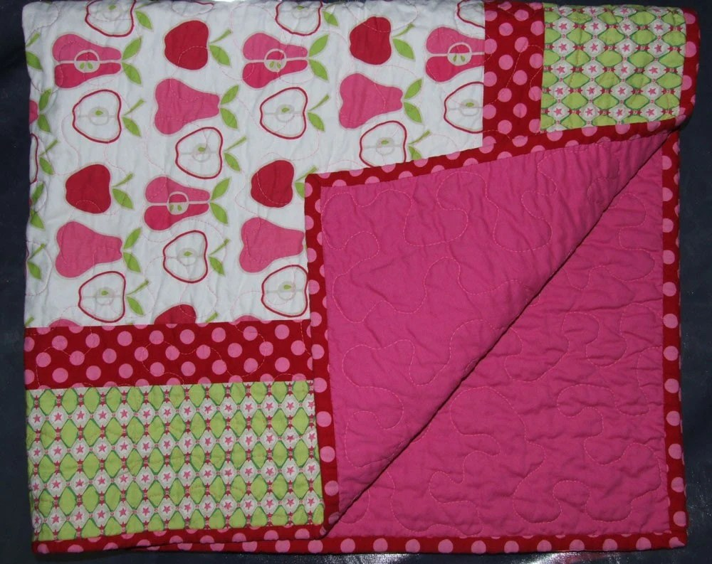Pink Apple and Pear Baby Quilt