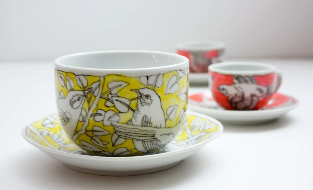 Huge Mug and Saucer - yellow birds