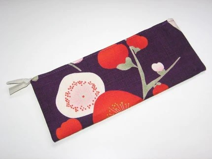 Zipper Pouch PEONY FLOWERS on plum purple.  Gorgeous fabric...Available also on Coral Pink.