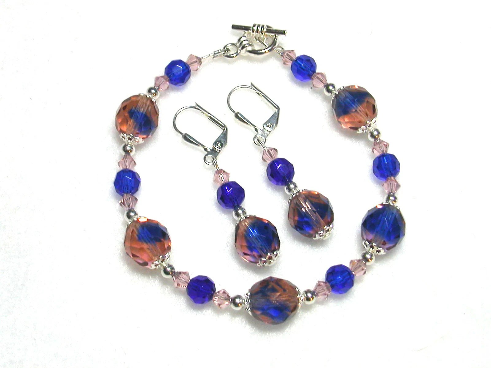 Colbalt and Peaches Crystal Bracelet and Earrings