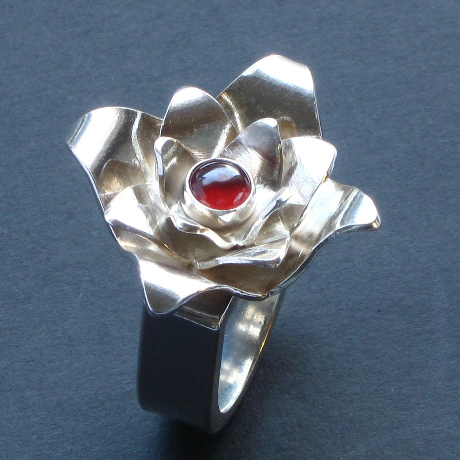 CHJ Sterling Lotus Ring with Garnet