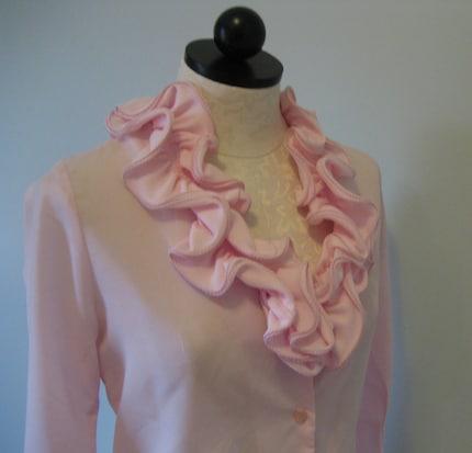 Vintage BEGONIA pink RUFFLED collar BLOUSE