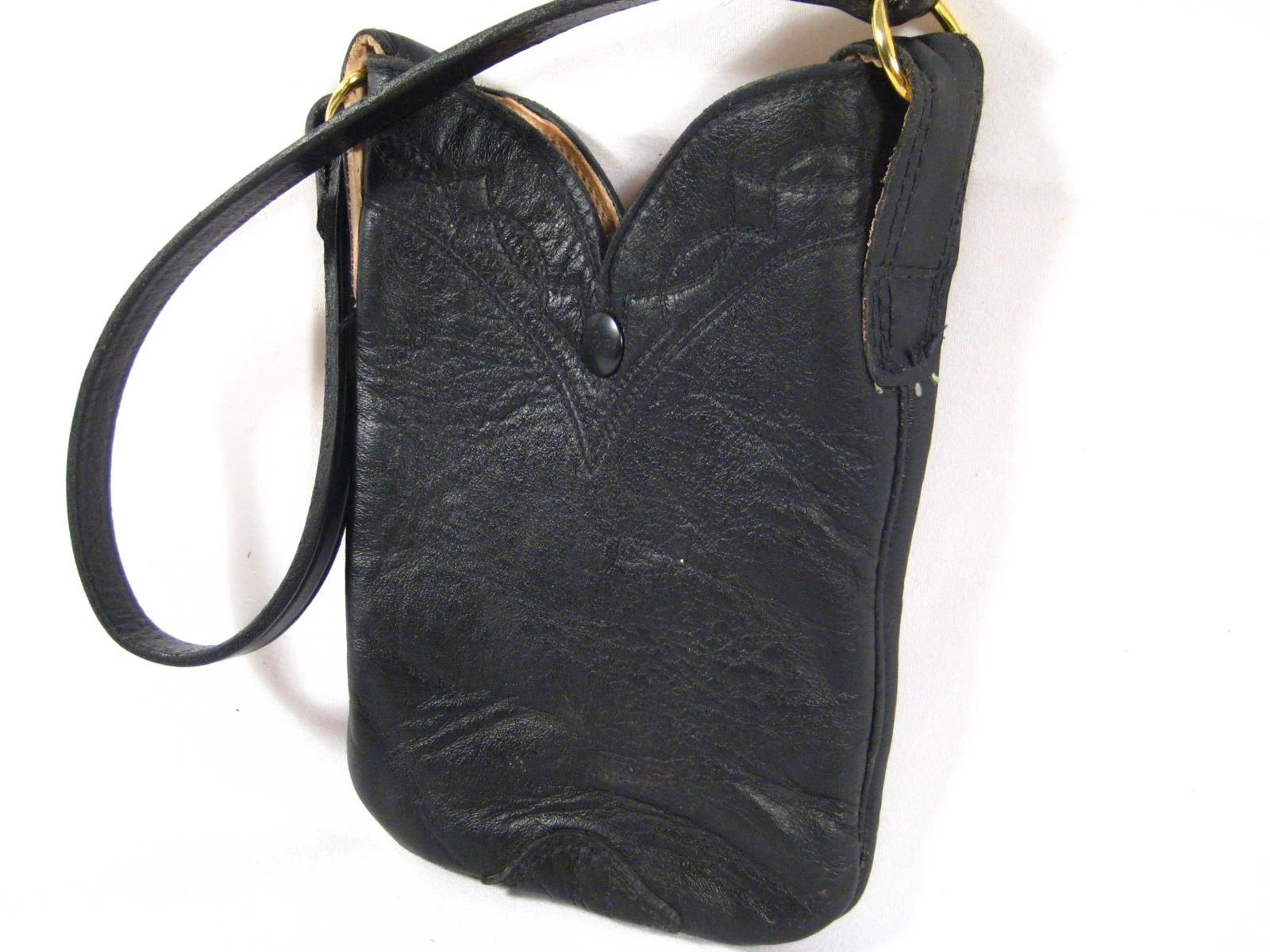 Upcycled Cowboy Boot Purse, Black leather Stewart Boot Company