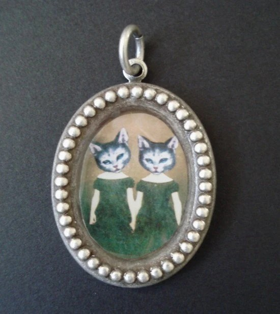 Cat Twins Silver Pendant