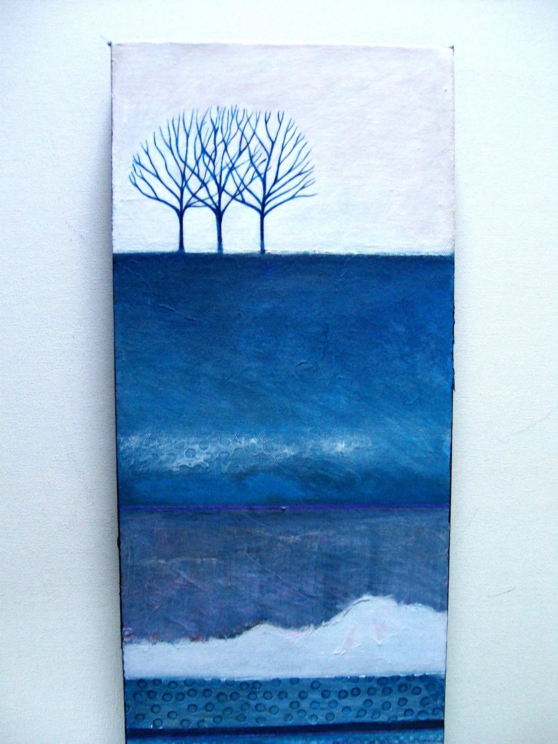 ON SALE - WinterScape - Original Mixed Media Painting on Canvas 24 x 8 x 1.5 inches