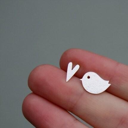 Little Love Bird Silver Earrings