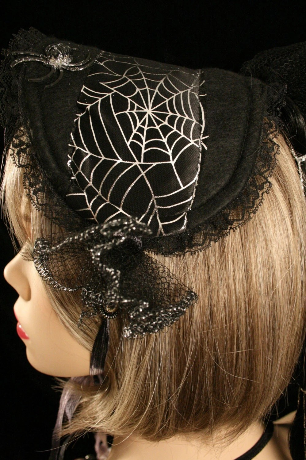 neo victorian steam punk lolita style hat with locks