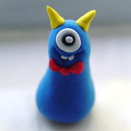 Puffy - smart little cyclops monster clay sculpture