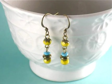 Stacked Yellow Earrings