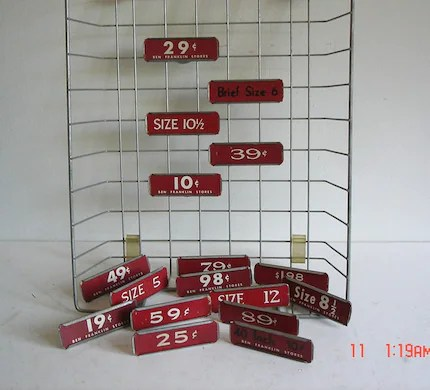 Vintage Metal Store Shelf Clips Store Pricing Labels Holders Group of 5