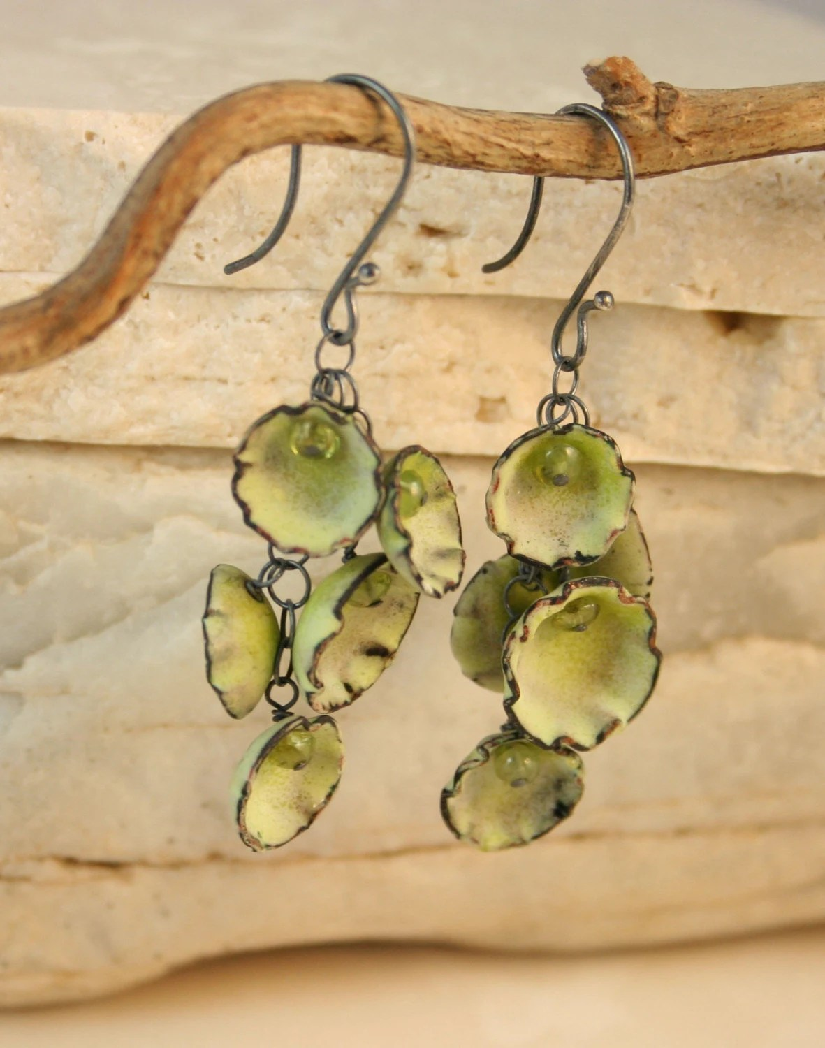Chartreuse and Peridot Cluster Cup Earrings