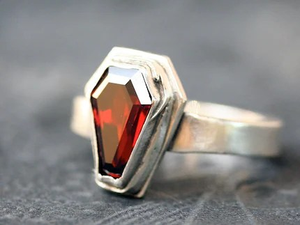 Blood garnet coffin ring