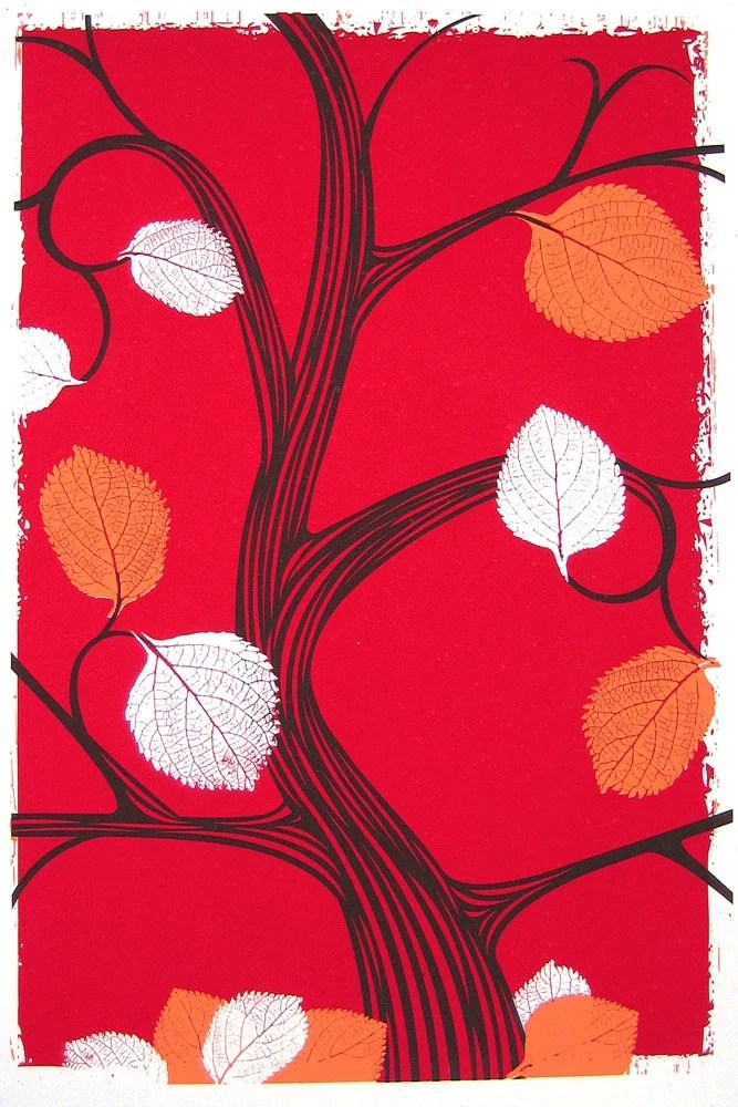 Hand screenprinted, 3-color love letter to fall. Click for more details or to purchase.