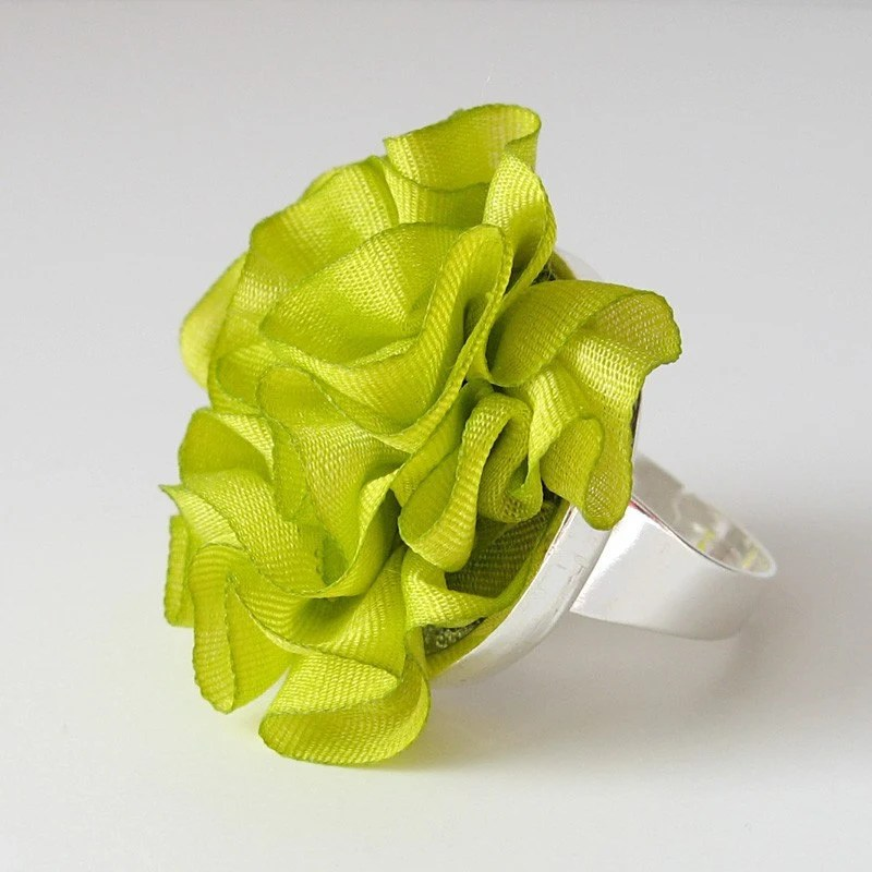3. Chartreuse Ruffled Silk Ring