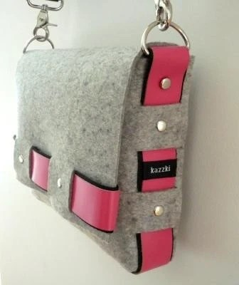 Light Grey Wool Industrial Felt with Pink Leather Messenger Bag
