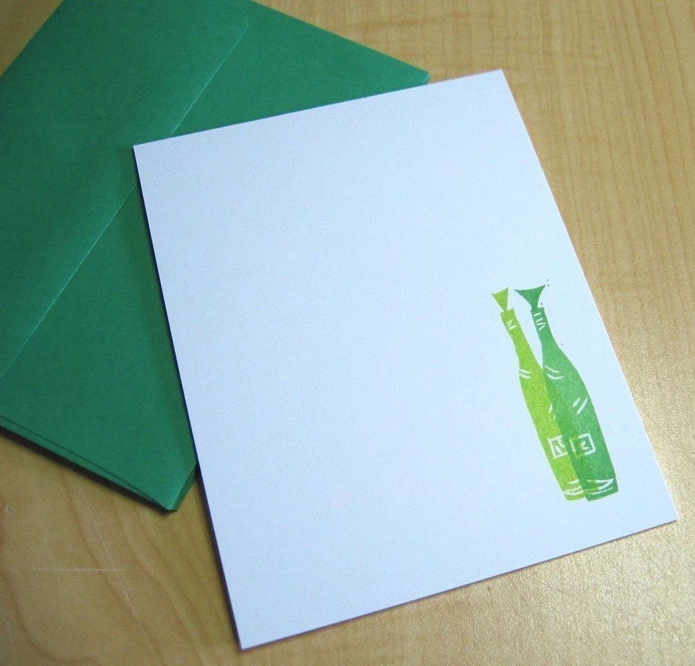 Wine Bottles Flat Note Stationery - Set of 5