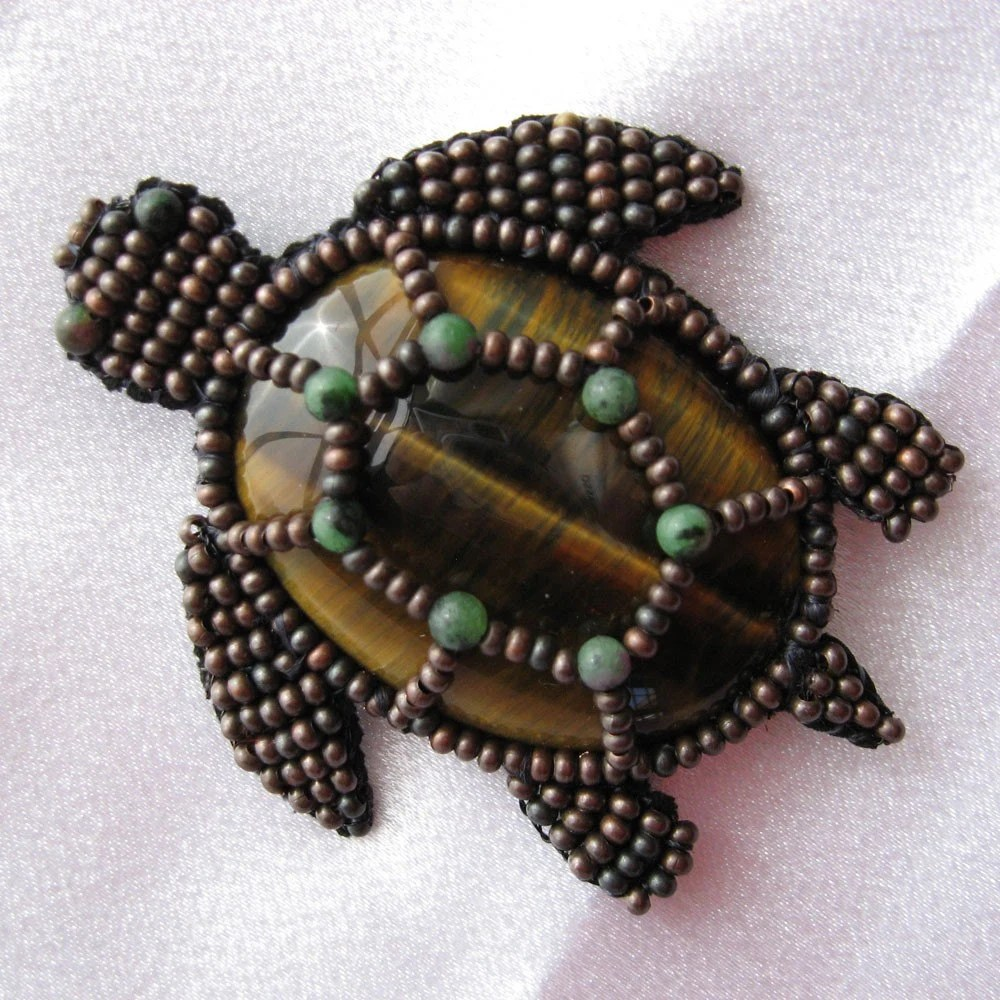 Beaded Sea Turtle Brooch with Tigereye and Ruby Zoisite