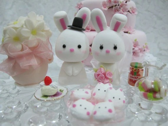 LOVE ANGELS Wedding Cake Topper-love rabbits
