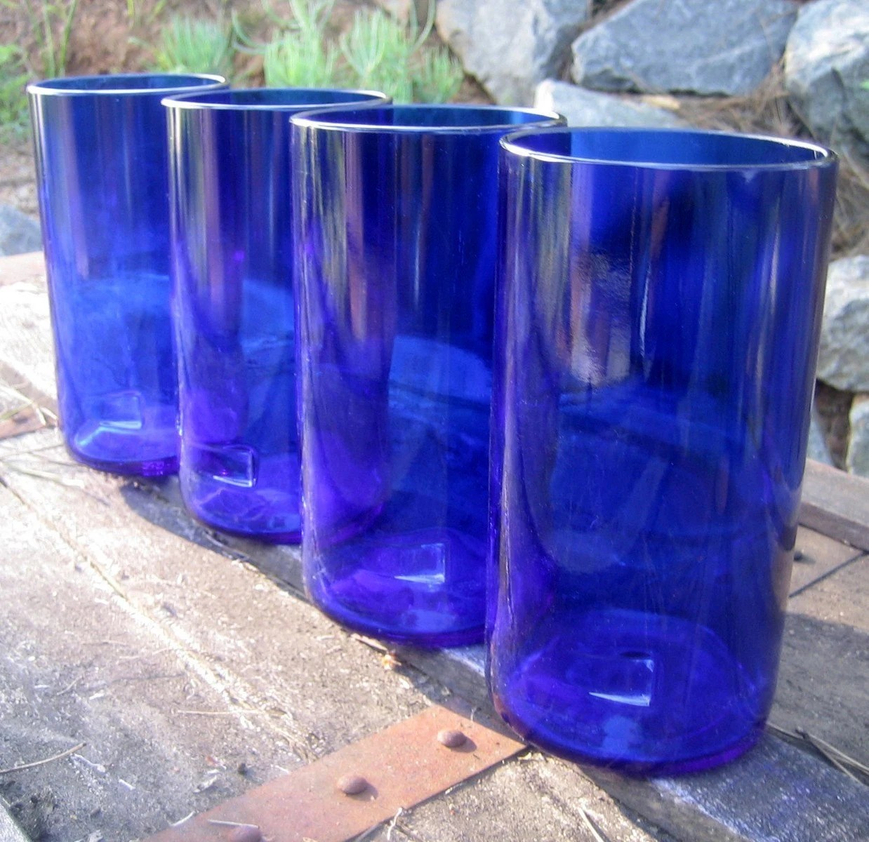 Recycled Glass Bottle Tumblers from Skyy Vodka bottles...reclaimed, repurposed