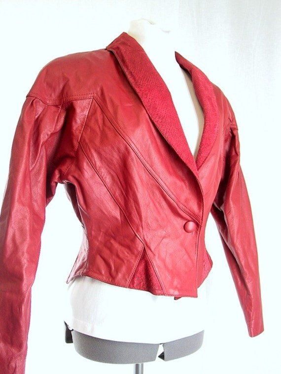 Red Hot Leather Chia Vintage 1980's Bomber Jacket