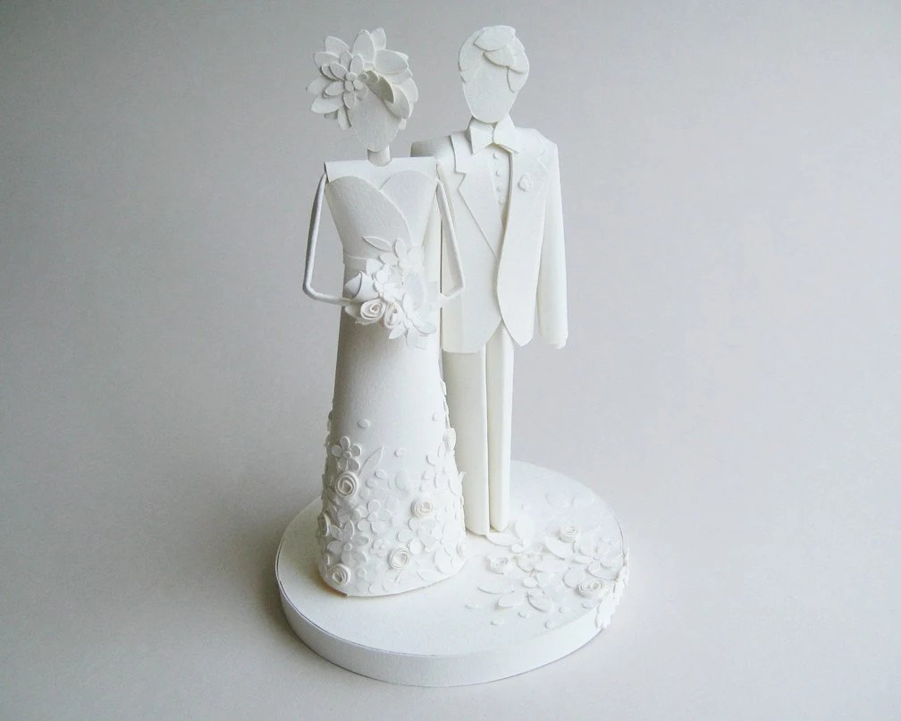 Wedding Cake Topper - Paper Sculpture - Delicate Floral Detail