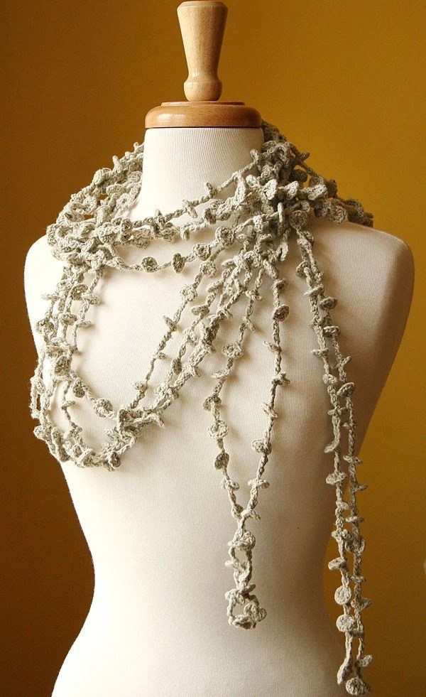 Sea Kelp Collection - No.1 - Organic Cotton Crocheted Lariat (Necklace, Scarf, Belt) - Ready to Ship