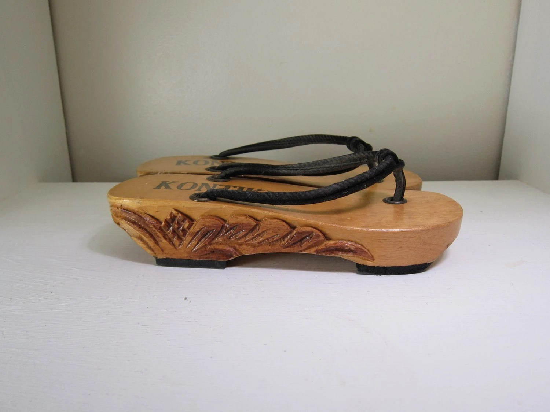 Carved Wood Platform Handmade Sandals