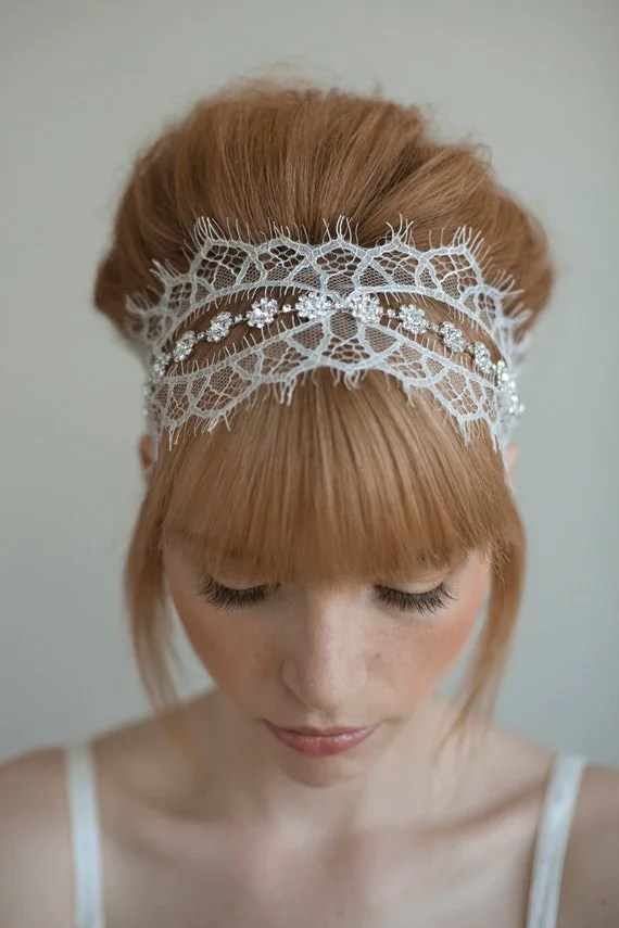 Chantilly and rhinestone self tie headband - Style 016 - Made to Order